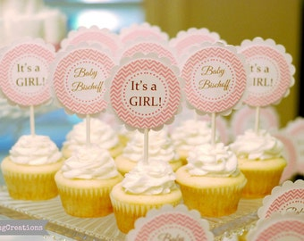 Baby Girl Cupcake Toppers, Its A Girl, Baby Shower, Baby Girl Shower