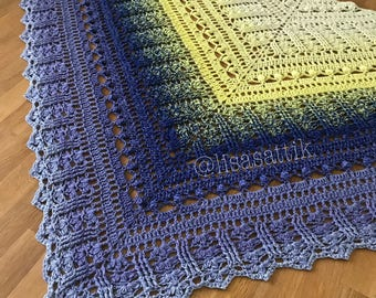 PDF Crochet Shawl Pattern - Custard Cream