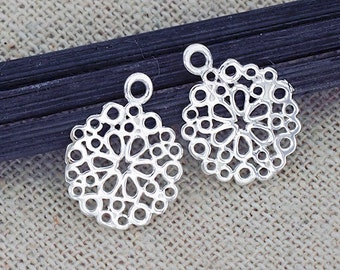 2 of 925 Sterling Silver Filigree Flower Charms 12 mm.Polished Finish :th2450