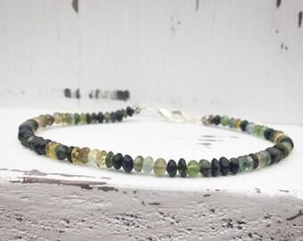 Green, Blue, and Black Tourmaline Sterling Silver Bracelet