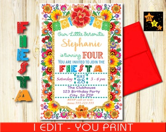 "Fourth Birthday Invitation, Mexican Fiesta Colorful Flowers, Gold Glitter, DIY, Printable, 5""x7"" or 4""x6"" each"