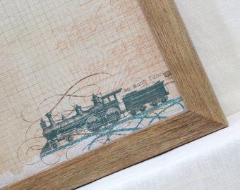 Magnetic Board-Wall Decor-Magnet Board-Dry Erase Board-Magnetic Memo Board-Framed-Train Design-includes magnets
