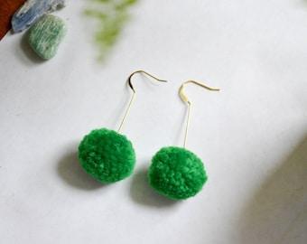 Yarn Pom Pom Earrings on Gold Posts in Green