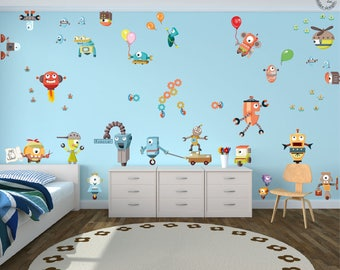 "Wall decal Set ""Robots"" XXL Baby nursery robotic mechanic children"