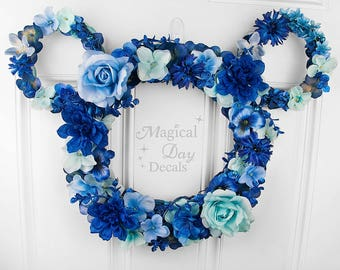 Blue Glittery Mickey Wreath / Mickey Mouse Wreath / Disney / Wreath / It's a Boy / Ocean / Water / Summer / Spring / Flowers / Boy  / WDW