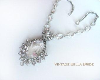 Vintage Rhinestone Crystal Drop Necklace Wedding Prom Special Occasion Mid Century