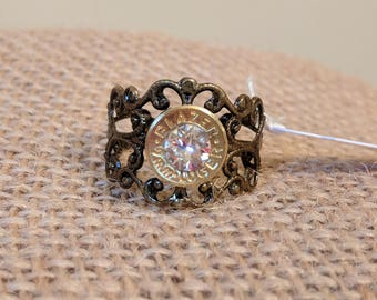 Antique Bronze Filigree Bullet Ring with Clear Swarovski Crystal