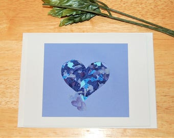 Blue Heart/Blank Card/Greeting Card/Anniversary/Thank you/Encouragement