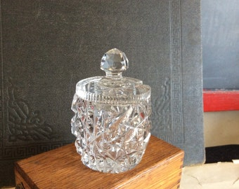 Vintage crystal cut glass sugar jam honey pot jar with lid
