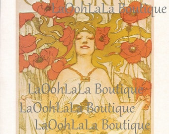 1896 Midsummer August The Century Magazine J. C. Leyendecker Art Nouveau Goddess Poppies Mythology Queen Red Poppy Woman Vintage Print Decor