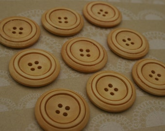 """Light Wood Buttons - Large Wooden Sewing Button Double Rim - 1 3/16"""" Wide"""