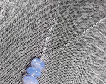 Blue Necklace for Women - Mother of the Bride Gift -  Blue Chalcedony - Wirewrapped Necklace