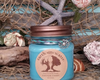 Cotton Candy Kisses 8 oz Soy Candle Hand Poured- Mason Jar Candle