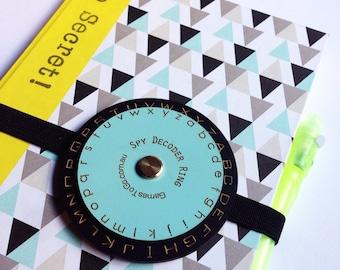 Wooden Spy Decoder Wheel - secret cipher wheel - toy with notebook - invisable ink UV pen