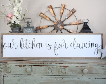 Our Kitchen Is For Dancing Wood Sign, Kitchen Wall Decor, Inspirational Home Decor, Be Happy, Housewarming Gift Sign, Farmhouse Style Sign