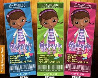 DOC MCSTUFFINS Ticket Invitation Doc Mcstuffins Birthday Invite