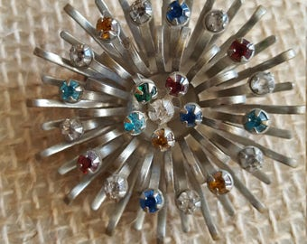 Vintage Silver and Multi Stone Brooch Costume Jewelry Starburst Brooch Pendant