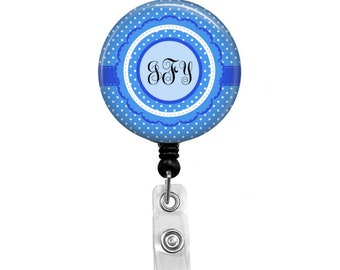 Your Initials surrounded by a Blue Background, Monogram - Badge Reel Retractable ID Badge Holder