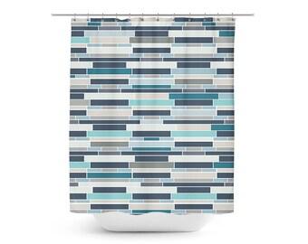 Mosaic Shower Curtain, Geometric Shower Curtain, Bath Curtain, Teal Grey  Navy Blue
