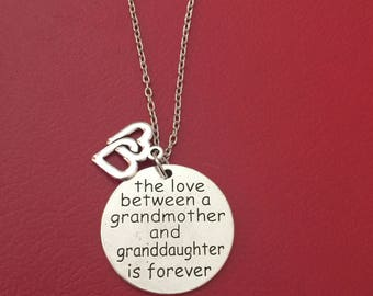 The Love Between A Grandmother and Granddaughter is forever pendant necklace Double Heart