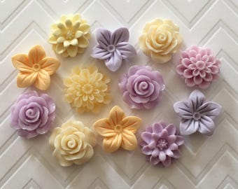 Flower Thumbtacks or Magnets Set of 12 - (#236) dorm decor, hostess gift, weddings, bridal shower, baby shower, gift, teacher gift