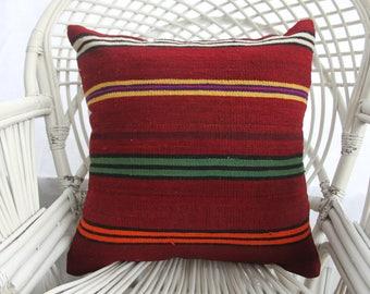 red pillow striped pillow antique pillow tribal 20x20 turkish vintage pillows kilim pillows cushion cover 50x50 cm large throw pillows 2408
