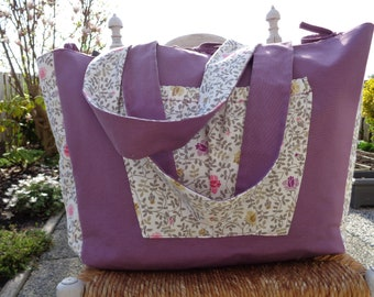 Purple Flowers Beach Bag