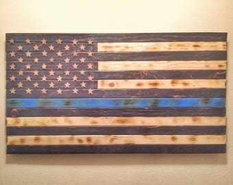 Thin Blue Line Flag, Burnt Wood Flag, Police Officer Flag