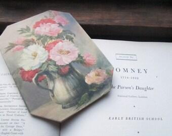 Vintage Flower print * Vintage Still Life Print * Flowers * Pitcher * 1940's 1950's Art * Muted colors * Large Blossoms * Vintage Home Decor