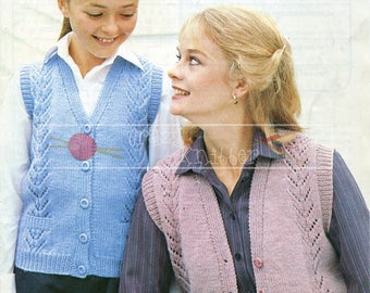 Lady & Girl's Lace Panel Waistcoat 26-40in DK Patons 1917 Vintage Knitting Pattern PDF instant download