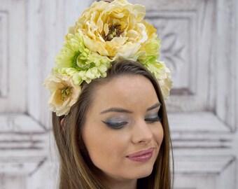 Green and Ivory Headdress, Flowercrown, Costume Headdress, Bridal Flower Crown, Woodland Headpiece, Elven, Renaissance
