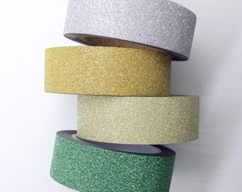 Mini Glitter Washi Tape Silver Gold Green Glitter Tape