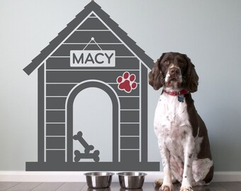 Dog House Name Wall Decal: Personalized Pet Room Sign Puppy Decor Kids Dog Theme Room Modern Indoor Dog House (SIZE LARGE)