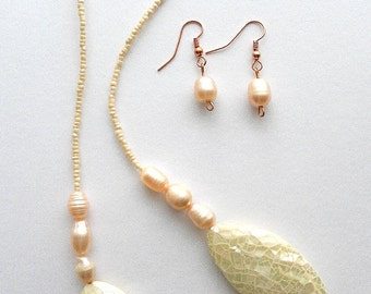 Mother-of-Pearl Teatime Necklace and Earrings