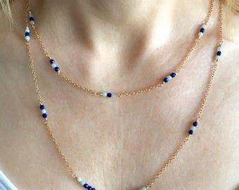 Lapis Lazuli Amazonite Gold Double Strand Necklace