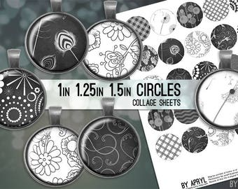 "Black and White Dark Grey 1 inch 1.25"" and 1.5"" Circles Collage Sheet for Glass and Resin Pendants Bottle Caps Digital Download JPG"