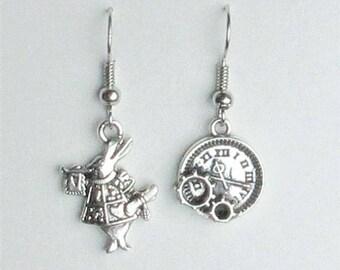 Alice in Wonderland Earrings, Silver Antique Dangle Earrings, Jewelry
