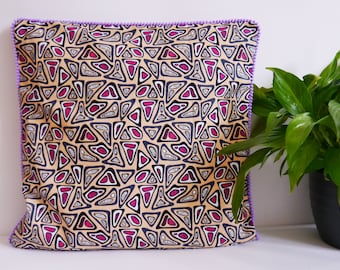 Peach African Wax Print Cushion Cover with Purple Pom-Pom Trim