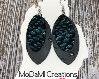 Leather earrings, marquise, teal and black, Chinese dragon, handmade earrings, nickle free, drop earrings, dangle earrings, lightweight