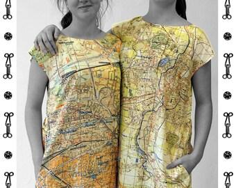 PIONEER Karl- Marx- Stadt, Dress, A-line, Karl Marx, map, card, plan, Tunic, Viscose, Communism, Socialism, digital print,