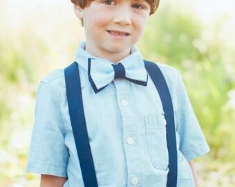 Blue Bowties, Blue Suspenders, Navy Suspenders, Bowtie & Suspender Sets