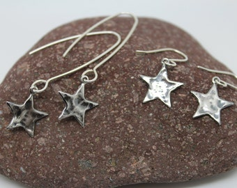 Silver star earrings, hammered silver star earrings, oxidised silver star earrings, long star earrings, star drop earrings