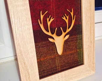 Handcrafted Scottish tartan frame with wooden stag head