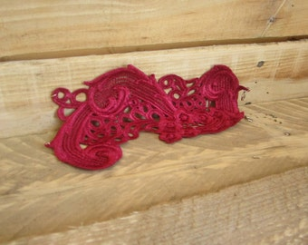 Red Lace Cuff Bracelet, Lace Jewelry, venice lace, lace cuff bracelet, red lace cuff, red venice lace, red lace, victorian, steampunk