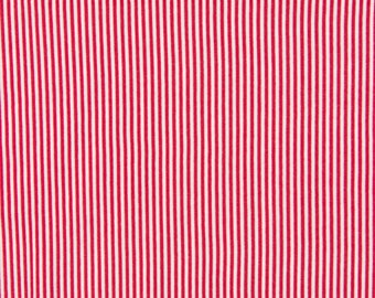 Red and white 2mm stripe cotton fabric