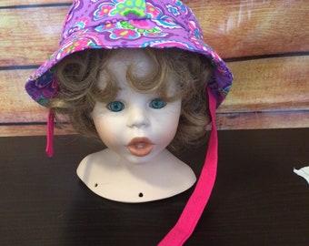 Handmade Girl Toddler Bonnet, FREE SHIPPING, Paisleys, Purple