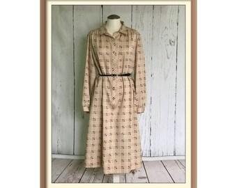 Vintage 1970's Bayard II Belted Shift Dress 18