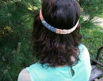 Urban headband/ adult size / thin headband / pink and blue headband