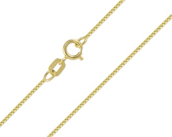 """14K Solid Yellow Gold Box Necklace Chain 0.6mm 16-24"""" - Polished Link"""