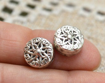 10pcs Metal Beads Silver 10mm Flat Round Coin Pewter Fancy Star